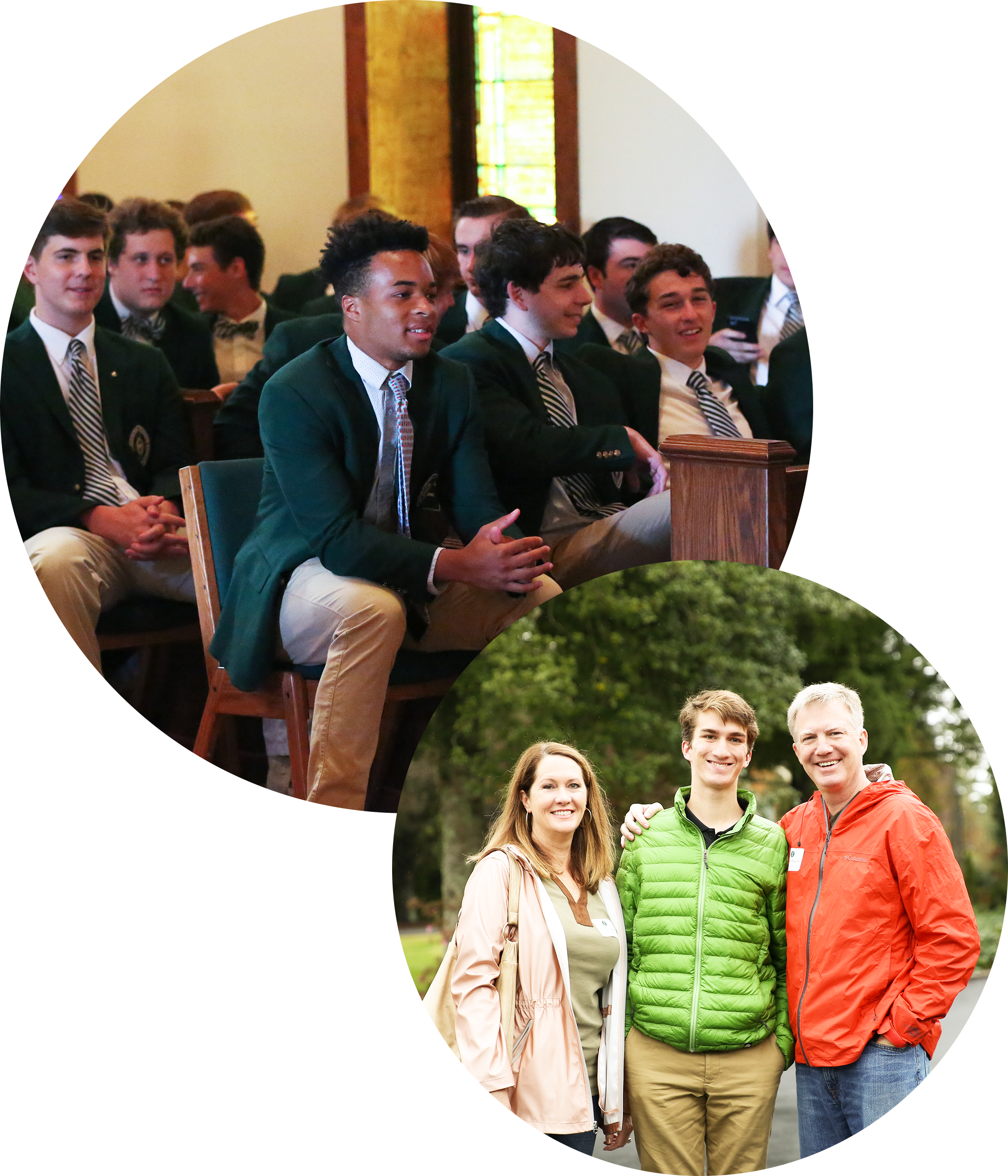 photo of students at chapel and a family